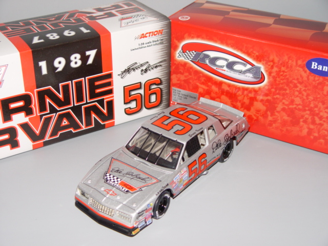 2000 Ernie Irvan NASCAR Diecast 56 Dale Earnhardt Chevrolet SIlver 1987 CWB Bank 1:24 Action RCCA 1