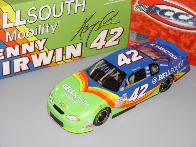 2000 Kenny Irwin NASCAR Diecast 42 Bell South Mobility Blue CWB Bank 1:24 Action ARC 1
