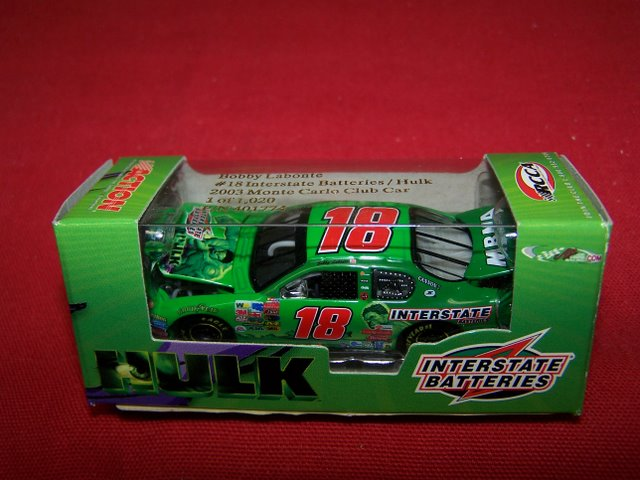 2003 Bobby Labonte NASCAR Diecast 18 Incredible Hulk CWC 1:64 Action RCCA Club Car 1