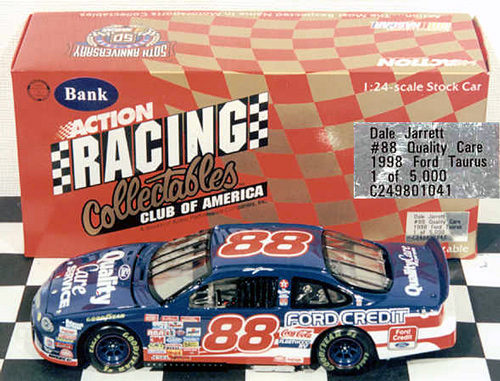 1998 Dale Jarrett NASCAR Diecast 88 Quality Care CWB Bank 1:24 Action RCCA 1