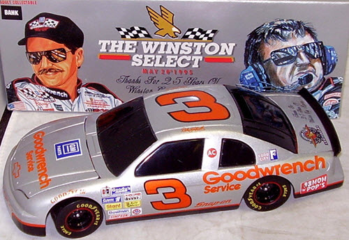 1995 Dale Earnhardt Sr NASCAR Diecast 3 Winston Silver Select BWB 1:24 Action ARC Black Window Bank Parts Red Wheels 1