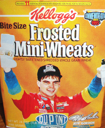 1995 Terry Labonte NASCAR Diecast 5 Kelloggs 24 Jeff Gordon DuPont Frosted Minit Wheats Promo 2 Car Set Cereal Box 1