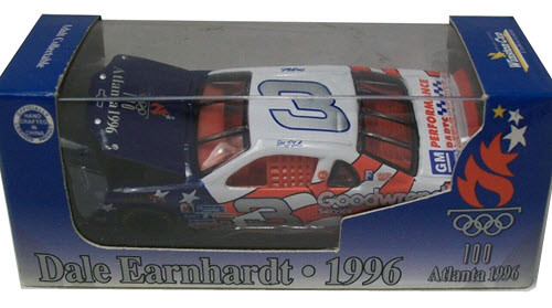 1996 Dale Earnhardt Sr NASCAR Diecast 3 Atlanta Olympic Sponsor CWC 1:64 Action ARC Sports Image Box 1