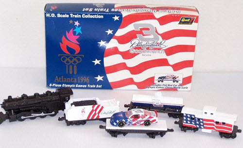 1996 Dale Earnhardt Sr NASCAR Diecast 3 Atlanta Olympics Train Set Revell 6 Piece 1
