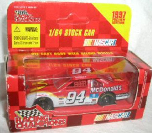 1997 Bill Elliott NASCAR Diecast 94 McDonalds CWC 1:64 Racing Champions 1997 Edition Preview Retail Box 1