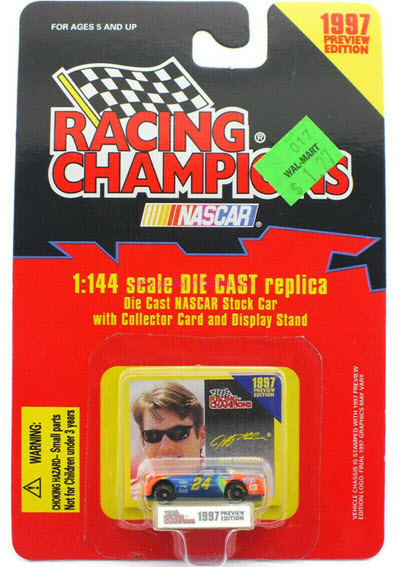 1997 Jeff Gordon NASCAR Diecast 24 DuPont Rainbow CWC 1:144 Racing Champions 1997 Edition Preview 1