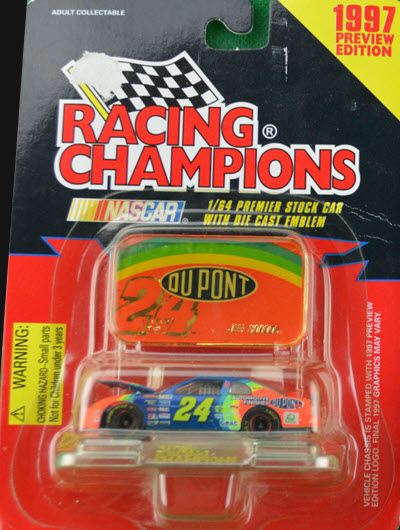1997 Jeff Gordon NASCAR Diecast 24 DuPont Rainbow CWC 1:64 Racing Champions Premier Preview 1