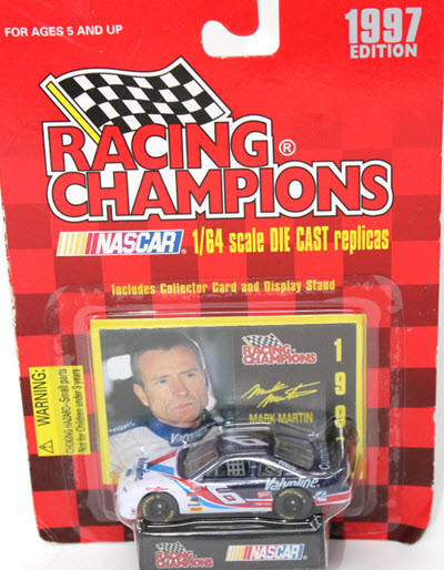 1997 Mark Martin NASCAR Diecast 6 Valvoline CWC 1:64 Racing Champions 1997 Edition with Bugles Logo 1