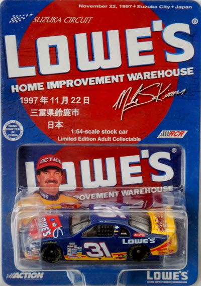 1997 Mike Skinner NASCAR Diecast 31 Lowes Suzuka Japan CWC 1:64 Action ARC 1