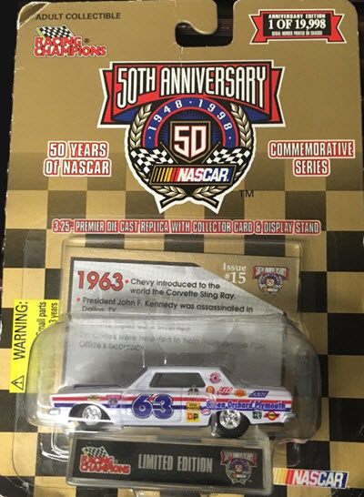 1998 50 Years Of NASCAR 1963 Green Orchard 63 Plymouth CWC 1:64 Racing Champions 1
