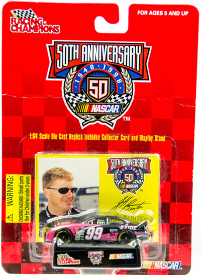 1998 Jeff Burton NASCAR Diecast 99 Exide CWC 1:64 Racing Champions Driver Card 1