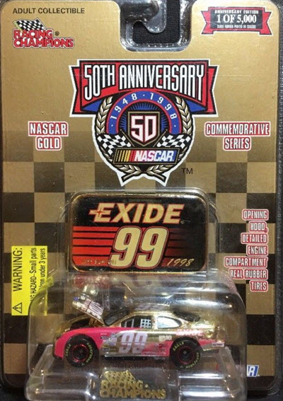 1998 Jeff Burton NASCAR Diecast 99 Exide CWC 1:64 Racing Champions Gold Commemorative 1