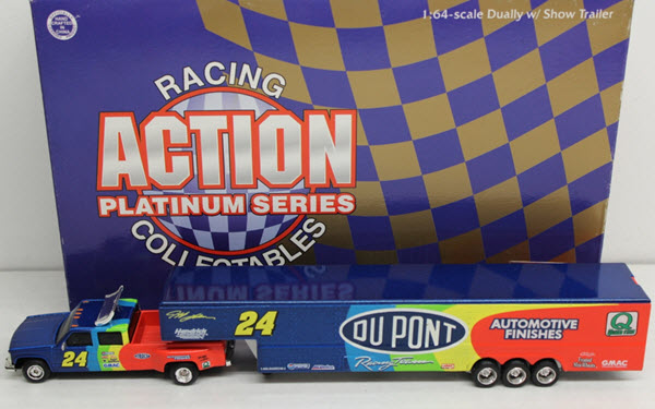 1998 Jeff Gordon NASCAR Diecast 24 DuPont CCT Crew Cab Dually Closed Show Trailer 1:64 Action ARC 1