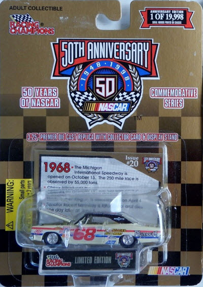 1998 Kevin Urban NASCAR Diecast 68 Red Kellers Auto Mart 1968 Plymouth CWC 1:64 Racing Champions 1