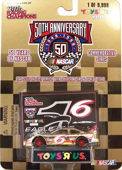 1998 Mark Martin NASCAR Diecast 6 Eagle One CWC 1:64 Racing Champions Toys R Us Gold 1