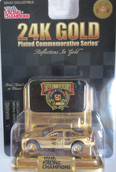 1998 NASCAR Diecast 50 NASCAR 50th Anniversary CWC 1:64 Racing Champions Reflections In Gold 1