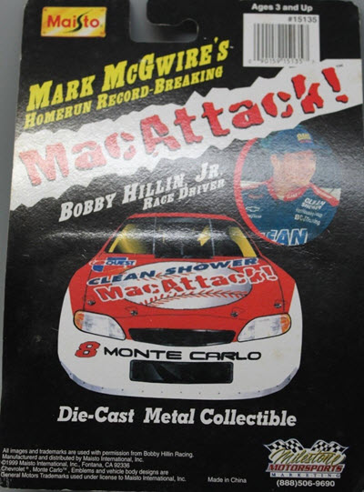1999 Bobby Hillin NASCAR Diecast 8 Clean Shower Mark McGwire Mac Attack CWC 1:64 Mastio 2