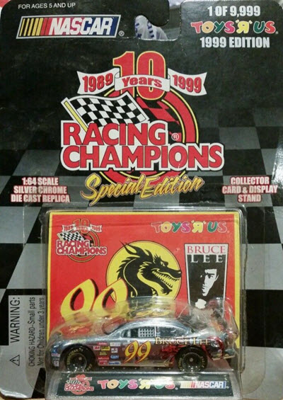 1999 Jeff Burton NASCAR Diecast 99 Bruce Lee CWC 1:64 Racing Champions Toys R Us Chrome 1
