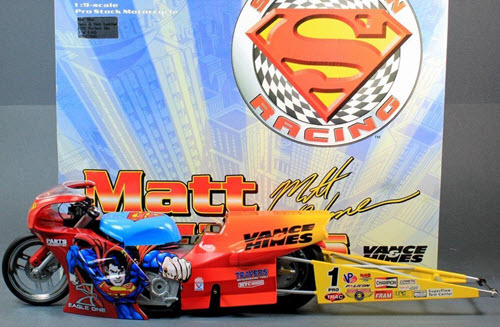 1999 Matt Hines NHRA Diecast Superman Pro Stock Bike Motorcycle 19 Action ARC 1