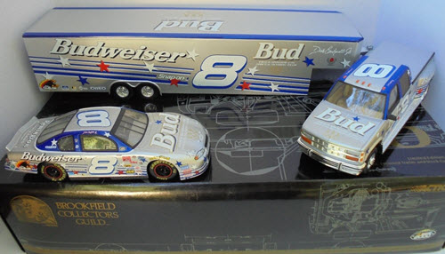 2000 Dale Earnhardt Jr NASCAR Diecast 8 Bud Budweiser US Olympic CCTC Crew Cab Dually Closed Trailer with Car 1:24 Brookfield Silver Incentive 1