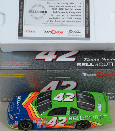 2000 Kenny Irwin NASCAR Diecast 42 Bell South CWC 1:24 Team Caliber Preferred 1