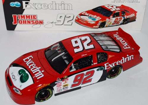 2001 Jimmie Johnson NASCAR Diecast 92 Excedrin CWC 1:24 Action ARC 1