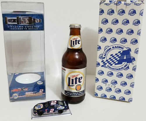 2002 Rusty Wallace NASCAR Diecast 2 Miller Lite CWC 1:64 Action ARC Beer Bottle 1