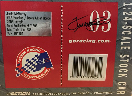 2003 Jamie McMurray NASCAR Diecast 42 Havoline Davey Allison Memorial CWC 1:24 Action ARC 90