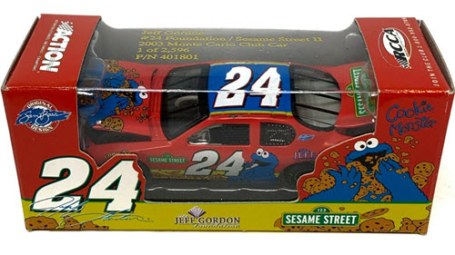 2003 Jeff Gordon NASCAR Diecast 24 Foundation Sesame Street Cookie Monster CWC 1:64 RCCA Club Car 1