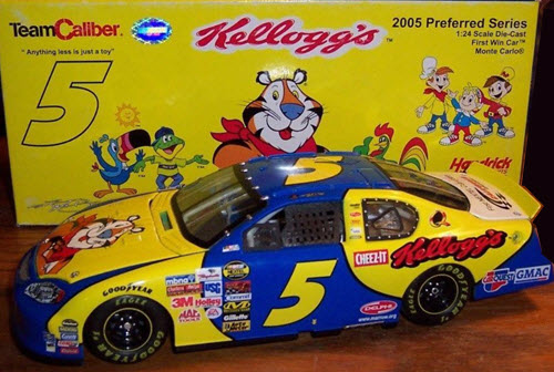 2005 Kyle Busch NASCAR Diecast 5 Kelloggs Fontana Califormia First Win CWC 1:24 Team Caliber Preferred 1