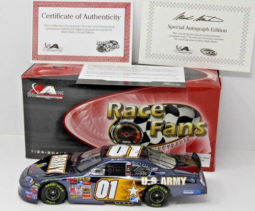 2007 Mark Martin NASCAR Diecast 01 Army American Heroes CWC 1:24 Action QVC RFO Autographed Color Chrome 1