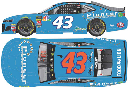 2018 Bubba Wallace NASCAR Diecast 43 Pioneer Records Management CWC 1:24 Lionel Action Rcca Elite Color Chrome 99