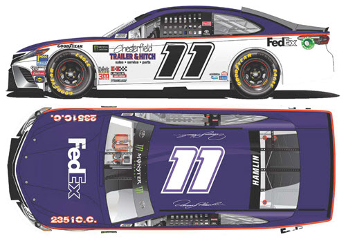 2018 Denny Hamlin NASCAR Diecast 11 FedEx Darlington Throwback Retro CWC 1:24 Lionel Action ARC Color Chrome 99