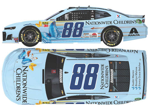 2019 Alex Bowman NASCAR Diecast 88 Nationwide Childrens Hospital CWC 1:24 Lionel Action ARC Flashcoat Autographed 99