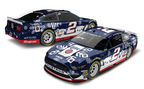 2019 Brad Keselowski NASCAR Diecast 2 Miller Lite Holiday Sweater 1:24 Lionel Action RCCA Elite Color Chrome 98