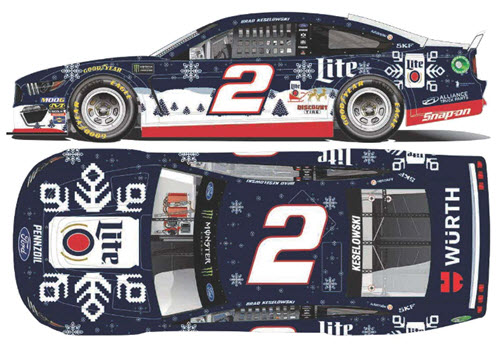 2019 Brad Keselowski NASCAR Diecast 2 Miller Lite Holiday Sweater 1:24 Lionel Action RCCA Elite Color Chrome 99