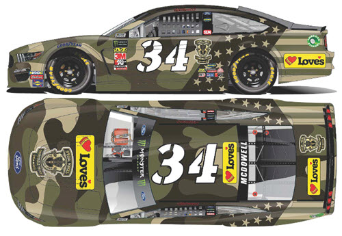 2019 Michael McDowell NASCAR Diecast 34 Loves Patriotic Camo 1:24 CWC Lionel Action RCCA Elite 99
