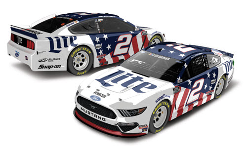 2020 Brad Keselowski NASCAR Diecast 2 Miller Lite Patriotic 1:24 Lionel Action ARC Color Chrome 99