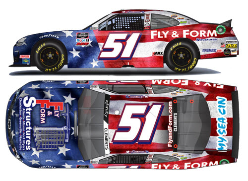 2020 Jeremy Clements NASCAR Diecast 51 Fly Form Structures Patriotic CWC 1:24 Lionel Action ARC 99