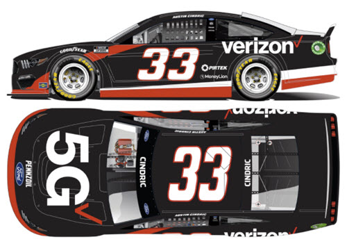 2021 Austin Cindric NASCAR Diecast 33 Verizon 5G First Cup Start CWC 1:24 Lionel Action ARC 99