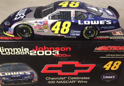 48 Jimmie Johnson Diecast 2004 Lowes Chevy 400 Wins 2003 Louden CWB Bank 1:24 Action ARC Color Chrome 1